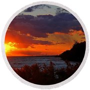 Sunset By The Beach Round Beach Towel