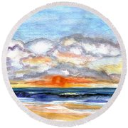 Round Beach Towel featuring the painting Sunset Clouds by Clara Sue Beym