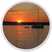 Round Beach Towel featuring the photograph Sunset Cove by Clara Sue Beym