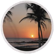 Round Beach Towel featuring the photograph Sunset by David Gleeson