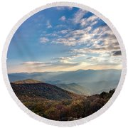 Round Beach Towel featuring the photograph Sunset From The Bald by Dan Wells