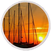 Sunset In A Harbour Digital Photo Painting Round Beach Towel