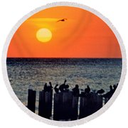 Round Beach Towel featuring the photograph Sunset In Florida by Lydia Holly