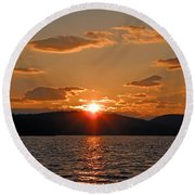 Round Beach Towel featuring the photograph Sunset by Lynda Lehmann