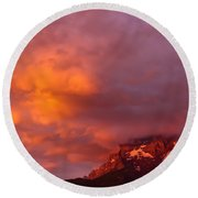 Sunset Murren Switzerland Round Beach Towel