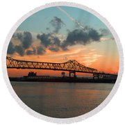Sunset On The Mississippi  Round Beach Towel by Lydia Holly