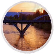 Sunset Over Caveman Bridge Round Beach Towel