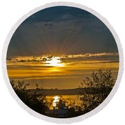 Round Beach Towel featuring the photograph Sunset Over Steilacoom Bay by Tikvah's Hope