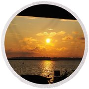 Round Beach Towel featuring the photograph Sunset Through The Rails by Michael Frank Jr