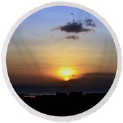Sunset Upon The Ocean Number Two Round Beach Towel
