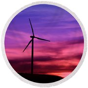 Round Beach Towel featuring the photograph Sunset Windmill by Alyce Taylor