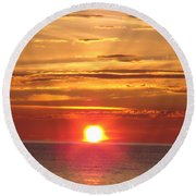 Round Beach Towel featuring the photograph Superior Setting by Bonfire Photography