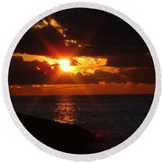 Round Beach Towel featuring the photograph Superior Sunset by Bonfire Photography
