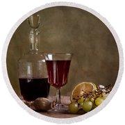 Supper With Wine Round Beach Towel by Nailia Schwarz