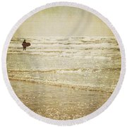 Surf The Sea And Sparkle Round Beach Towel by Lyn Randle