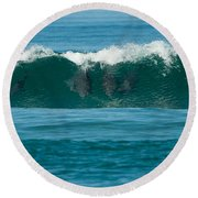 Surfing Dolphins 2 Round Beach Towel