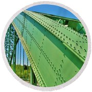 Round Beach Towel featuring the photograph Suspension Bridge by Sherman Perry