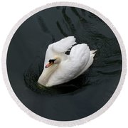Round Beach Towel featuring the photograph Swan On Black Water by Les Palenik