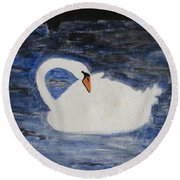 Round Beach Towel featuring the painting Swan  by Sonali Gangane