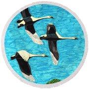 Swans In Flight Round Beach Towel by Wendy McKennon