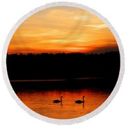 Swans In The Sunset Round Beach Towel