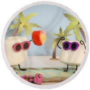 Sweet Vacation Round Beach Towel