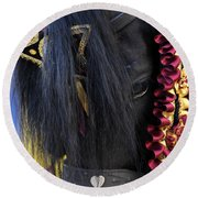 sweetheart - a Menorca race horse with traditional multicolor ribbons and mirror star Round Beach Towel