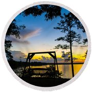 Swing Silhouette  Round Beach Towel