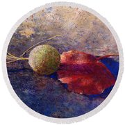 Round Beach Towel featuring the painting Sycamore Ball And Leaf by Andrew King