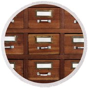Tagged Drawers Round Beach Towel