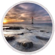 Talacre Lighthouse  Round Beach Towel by Beverly Cash