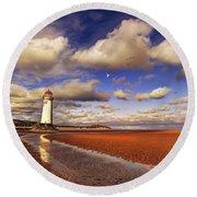 Talacre Lighthouse Round Beach Towel