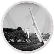 Round Beach Towel featuring the photograph Tall Ship Race 1 by Pedro Cardona