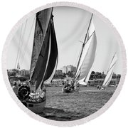 Round Beach Towel featuring the photograph Tall Ship Races 2 by Pedro Cardona