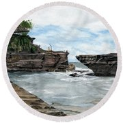 Round Beach Towel featuring the painting Tanah Lot Temple II Bali Indonesia by Melly Terpening