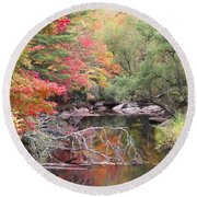 Tanasee Creek In The Fall Round Beach Towel
