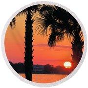 Tangerine Dream Round Beach Towel