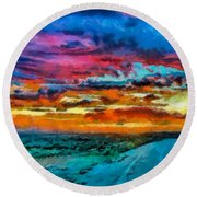 Taos Sunset Iv Wc Round Beach Towel