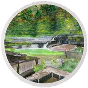 Round Beach Towel featuring the painting Taughannock Vista Ithaca New York by Melly Terpening