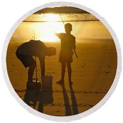 Round Beach Towel featuring the photograph Teach A Man To Fish... by Eric Tressler