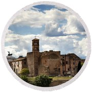 Temple Of Venus And Roma Round Beach Towel by Fabrizio Troiani