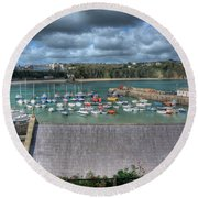 Round Beach Towel featuring the photograph Tenby Harbour Pembrokeshire 1 by Steve Purnell