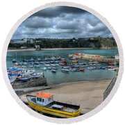Round Beach Towel featuring the photograph Tenby Harbour Pembrokeshire 2 by Steve Purnell