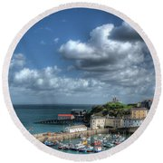 Round Beach Towel featuring the photograph Tenby Harbour Pembrokeshire 3 by Steve Purnell