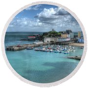 Round Beach Towel featuring the photograph Tenby Harbour Pembrokeshire 4 by Steve Purnell