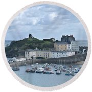 Round Beach Towel featuring the photograph Tenby Harbour Pembrokeshire Panorama by Steve Purnell
