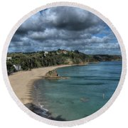 Round Beach Towel featuring the photograph Tenby North Beach Pembrokeshire  by Steve Purnell