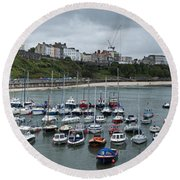 Round Beach Towel featuring the photograph Tenby Panorama by Steve Purnell