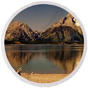 Round Beach Towel featuring the photograph Teton Panoramic by Marty Koch