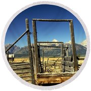 Round Beach Towel featuring the photograph Teton Ranch by Marty Koch